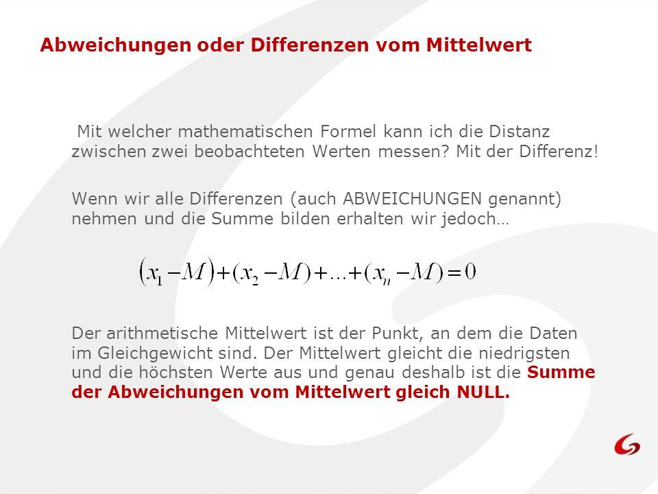 Abweichungen oder Differenzen vom Mittelwert Mit welcher mathematischen Formel kann ich die Distanz zwischen zwei beobachteten Werten messen? Mit der