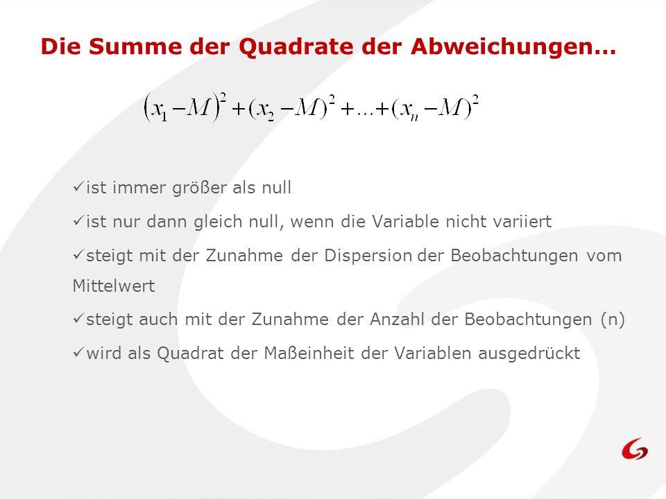 Die Summe der Quadrate der Abweichungen… ist immer größer als null ist nur dann gleich null, wenn die Variable nicht variiert steigt mit der Zunahme d