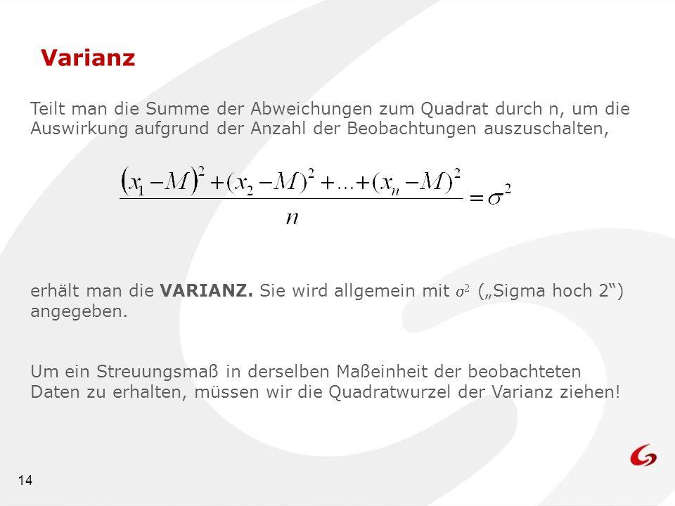 14 Varianz Teilt man die Summe der Abweichungen zum Quadrat durch n, um die Auswirkung aufgrund der Anzahl der Beobachtungen auszuschalten, erhält man