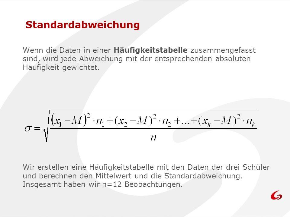 Wenn die Daten in einer Häufigkeitstabelle zusammengefasst sind, wird jede Abweichung mit der entsprechenden absoluten Häufigkeit gewichtet. Standarda