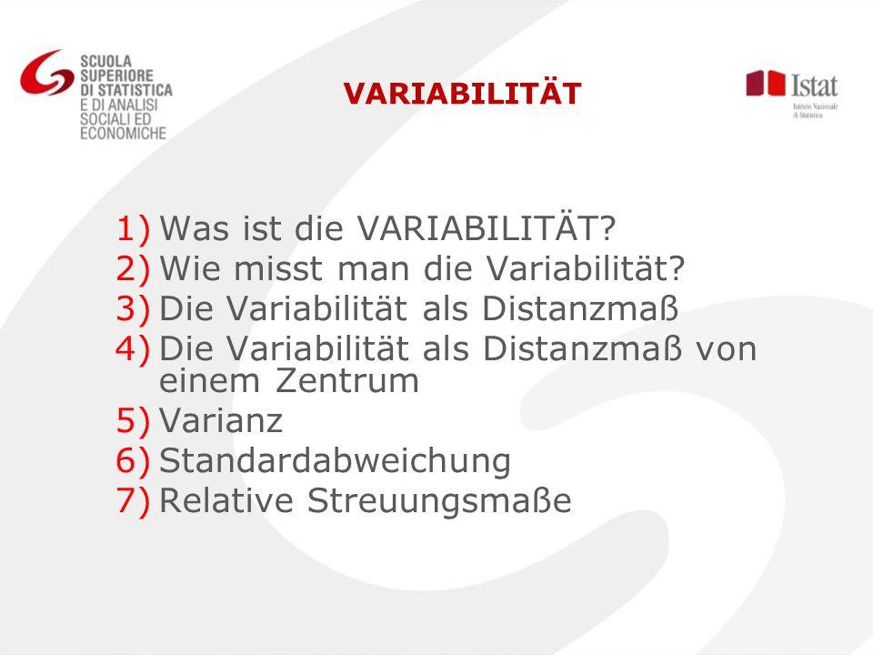 VARIABILITÄT 1) 1)Was ist die VARIABILITÄT? 2) 2)Wie misst man die Variabilität? 3) 3)Die Variabilität als Distanzmaß 4) 4)Die Variabilität als Distan