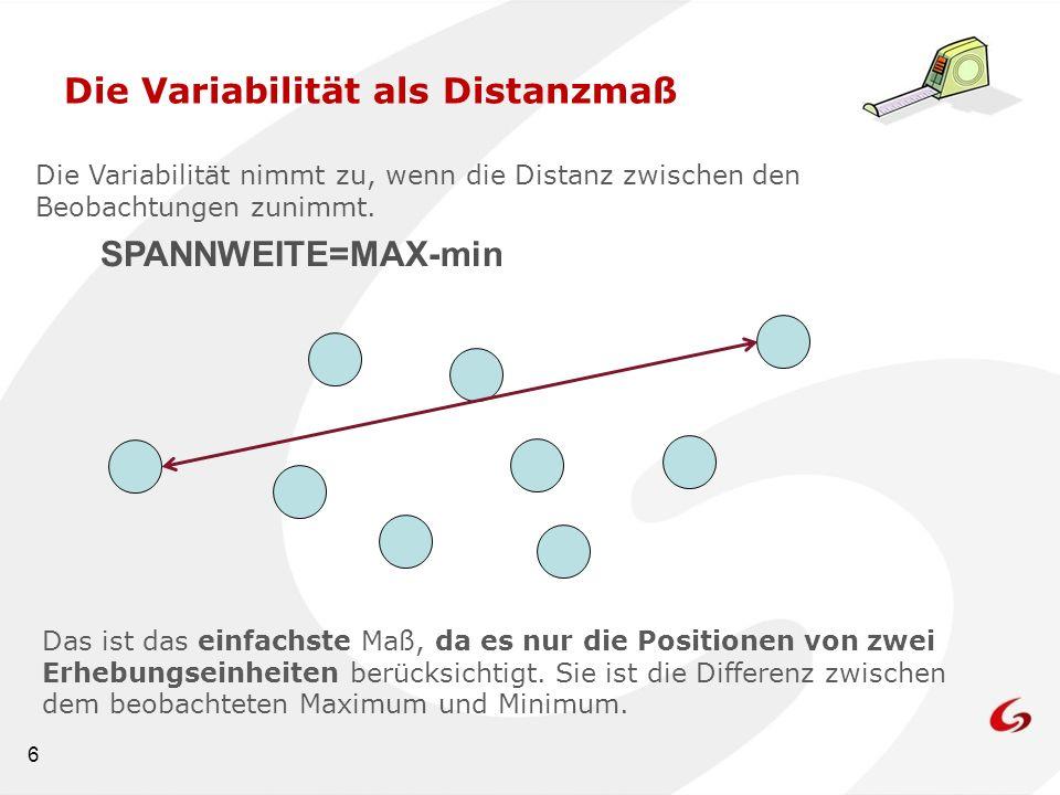 6 Die Variabilität als Distanzmaß Die Variabilität nimmt zu, wenn die Distanz zwischen den Beobachtungen zunimmt. Das ist das einfachste Maß, da es nu