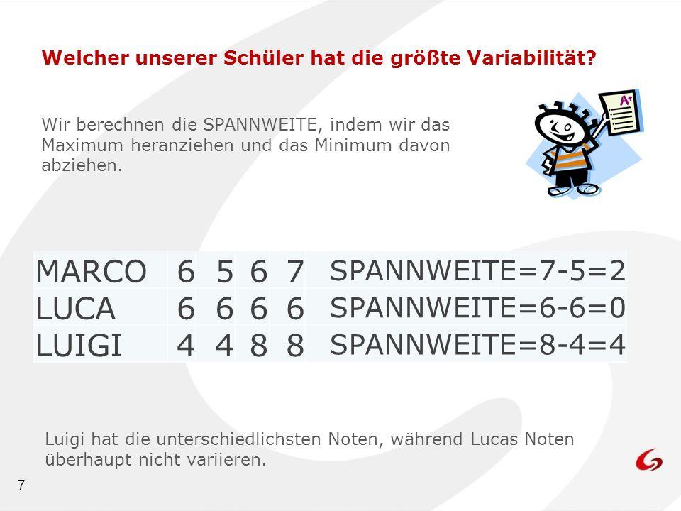 7 Welcher unserer Schüler hat die größte Variabilität? Wir berechnen die SPANNWEITE, indem wir das Maximum heranziehen und das Minimum davon abziehen.