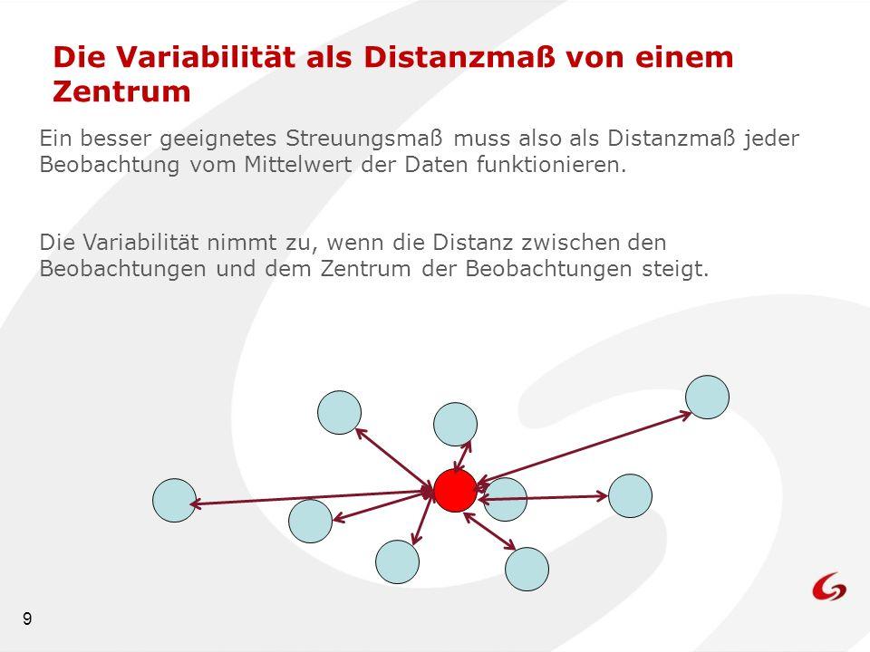 9 Die Variabilität als Distanzmaß von einem Zentrum Ein besser geeignetes Streuungsmaß muss also als Distanzmaß jeder Beobachtung vom Mittelwert der D