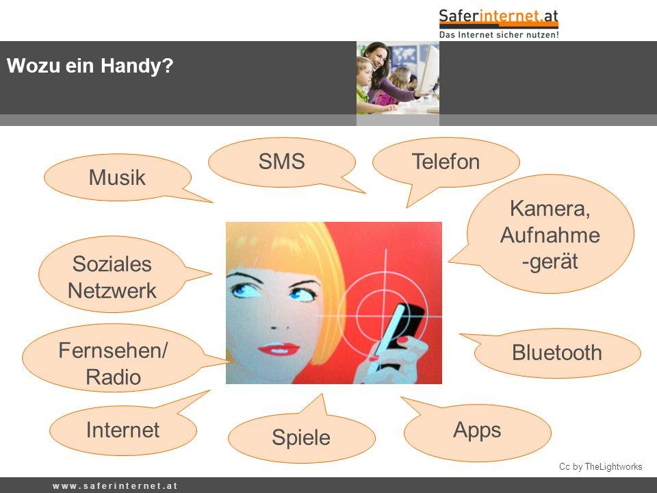 Cc by TheLightworks Telefon Internet Kamera, Aufnahme -gerät SMS Bluetooth Spiele Musik Fernsehen/ Radio Apps Wozu ein Handy? w w w. s a f e r i n t e