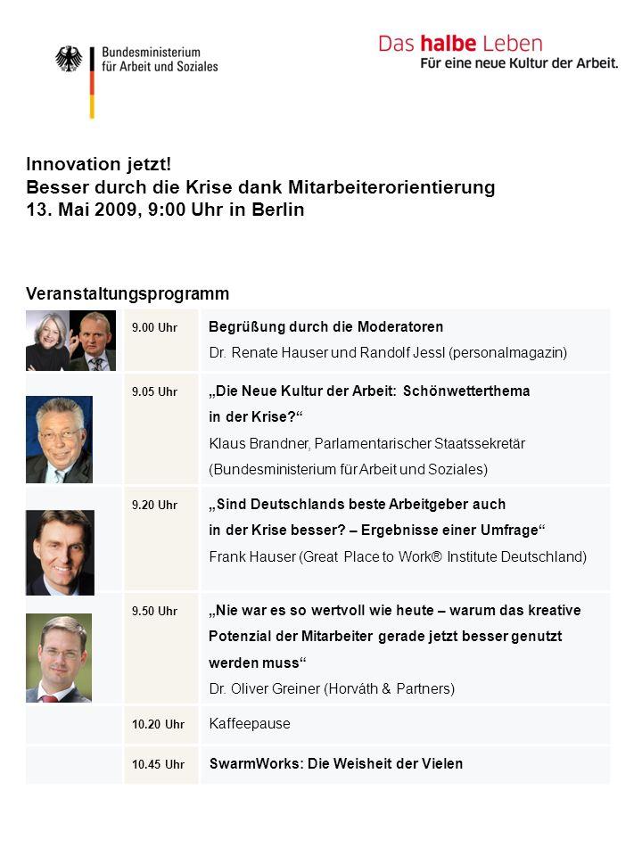 9.00 Uhr Begrüßung durch die Moderatoren Dr. Renate Hauser und Randolf Jessl (personalmagazin) 9.05 Uhr Die Neue Kultur der Arbeit: Schönwetterthema i