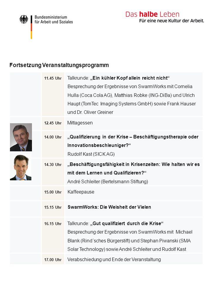 11.45 Uhr Talkrunde: Ein kühler Kopf allein reicht nicht Besprechung der Ergebnisse von SwarmWorks mit Cornelia Hulla (Coca Cola AG), Matthias Robke (ING-DiBa) und Ulrich Haupt (TomTec Imaging Systems GmbH) sowie Frank Hauser und Dr.