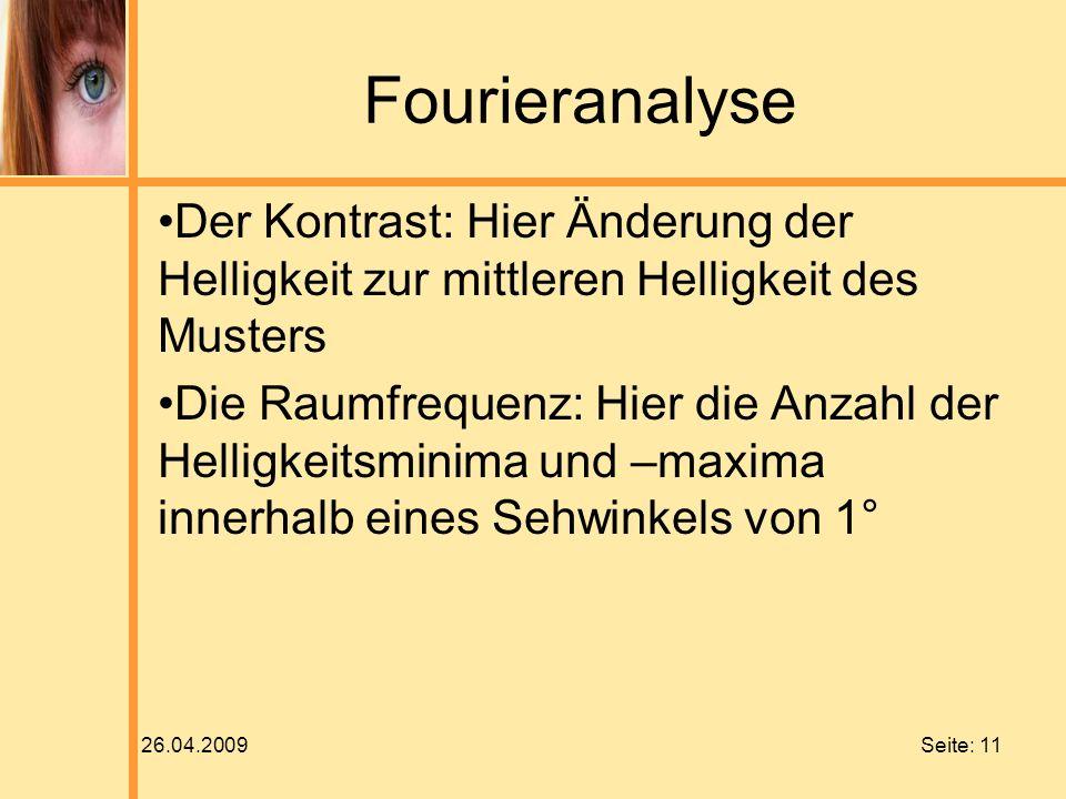 26.04.2009 Seite: 11 Fourieranalyse Der Kontrast: Hier Änderung der Helligkeit zur mittleren Helligkeit des Musters Die Raumfrequenz: Hier die Anzahl