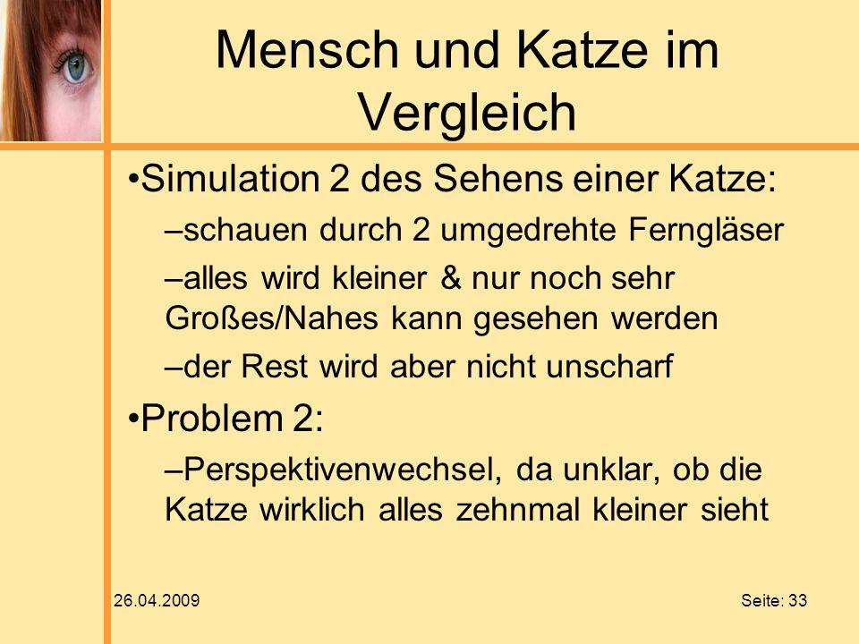 26.04.2009 Seite: 33 Mensch und Katze im Vergleich Simulation 2 des Sehens einer Katze: –schauen durch 2 umgedrehte Ferngläser –alles wird kleiner & n