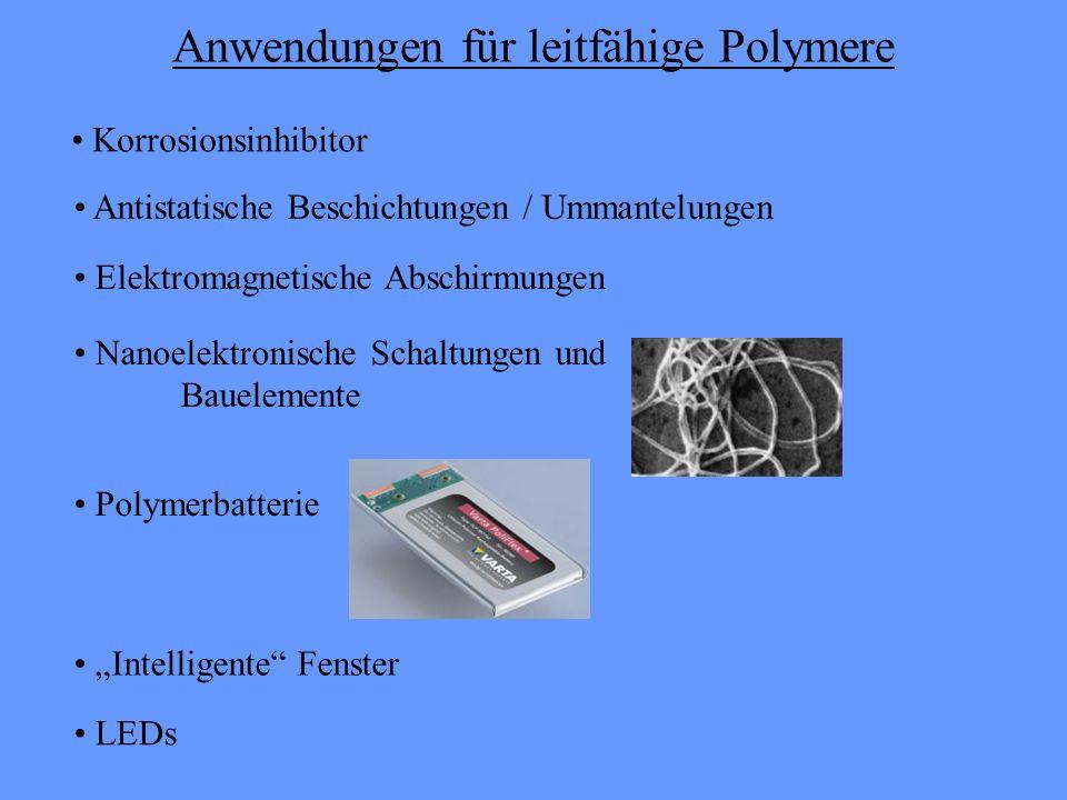 Anwendungen für leitfähige Polymere Korrosionsinhibitor Antistatische Beschichtungen / Ummantelungen Elektromagnetische Abschirmungen Polymerbatterie Nanoelektronische Schaltungen und Bauelemente Intelligente Fenster LEDs