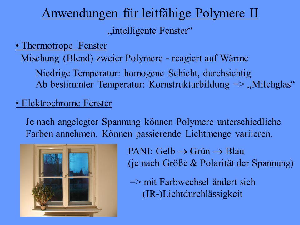 Anwendungen für leitfähige Polymere II Elektrochrome Fenster Je nach angelegter Spannung können Polymere unterschiedliche Farben annehmen. Können pass