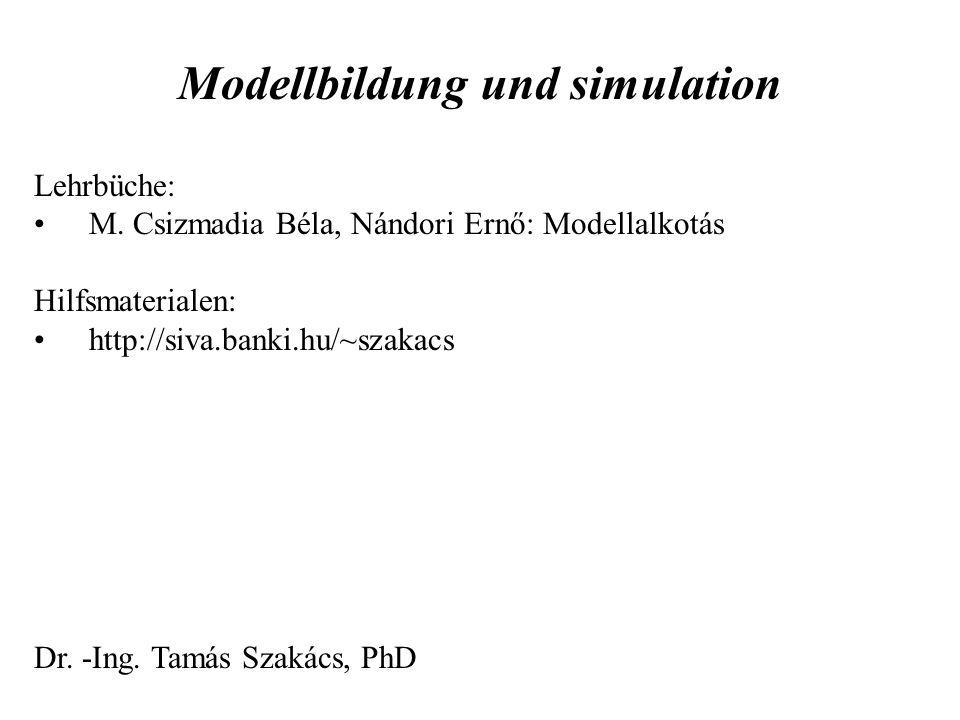 Modellbildung und simulation Lehrbüche: M. Csizmadia Béla, Nándori Ernő: Modellalkotás Hilfsmaterialen: http://siva.banki.hu/~szakacs Dr. -Ing. Tamás