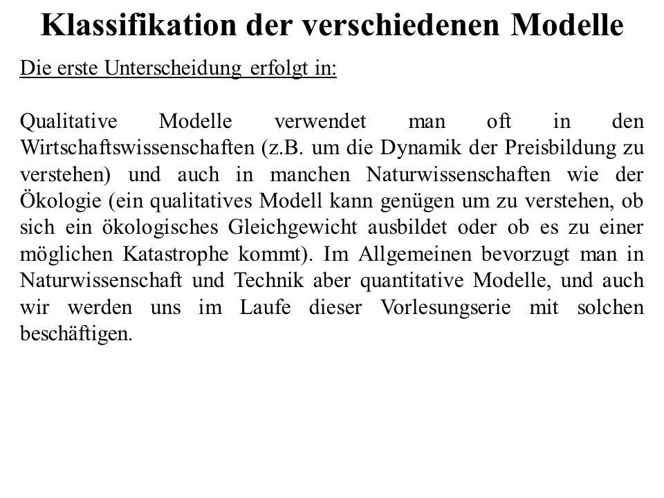 Klassifikation der verschiedenen Modelle Die erste Unterscheidung erfolgt in: Qualitative Modelle verwendet man oft in den Wirtschaftswissenschaften (