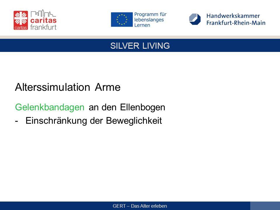 SILVER LIVING GERT – Das Alter erleben Alterssimulation Arme Gelenkbandagen an den Ellenbogen -Einschränkung der Beweglichkeit