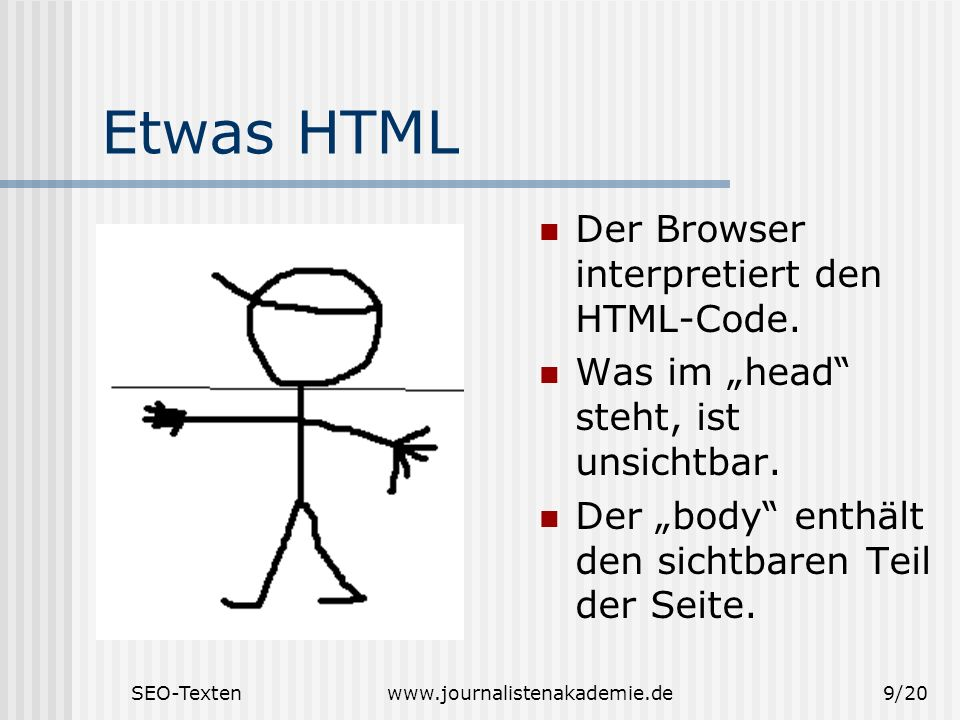 SEO-Textenwww.journalistenakademie.de9/20 Etwas HTML Der Browser interpretiert den HTML-Code. Was im head steht, ist unsichtbar. Der body enthält den