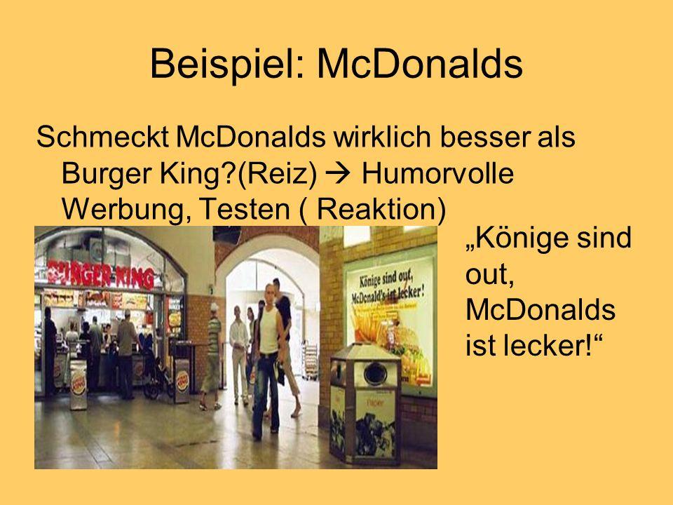 Beispiel: McDonalds Schmeckt McDonalds wirklich besser als Burger King?(Reiz) Humorvolle Werbung, Testen ( Reaktion) Könige sind out, McDonalds ist le