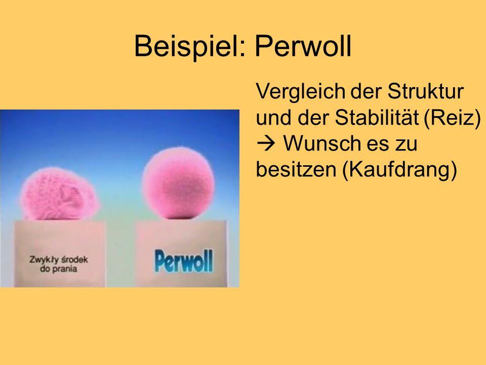 Beispiel: Perwoll Vergleich der Struktur und der Stabilität (Reiz) Wunsch es zu besitzen (Kaufdrang)