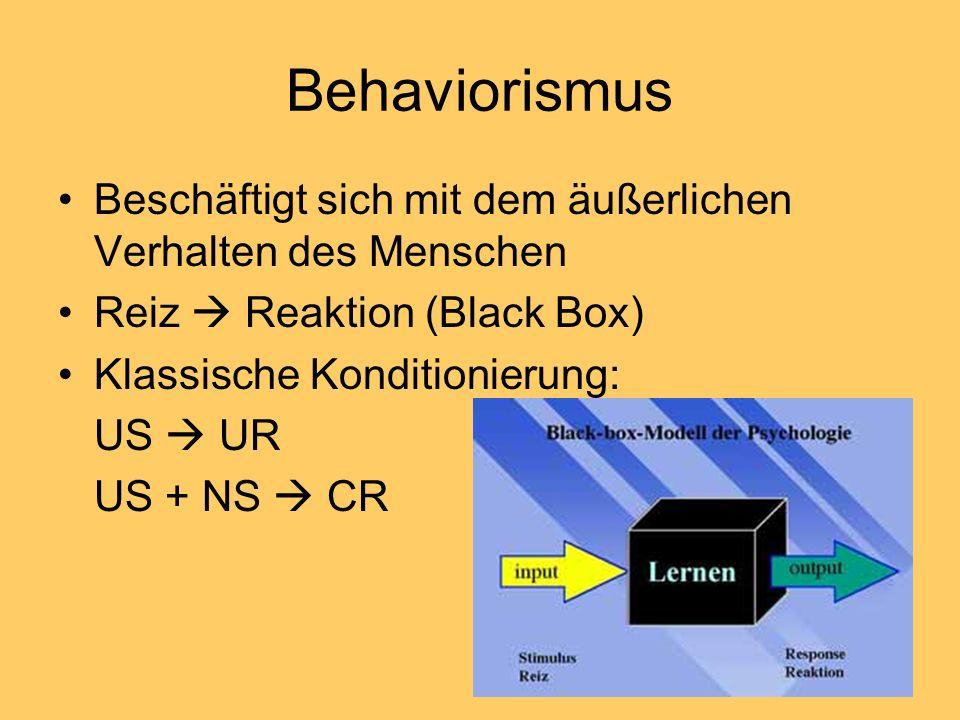 Behaviorismus Beschäftigt sich mit dem äußerlichen Verhalten des Menschen Reiz Reaktion (Black Box) Klassische Konditionierung: US UR US + NS CR