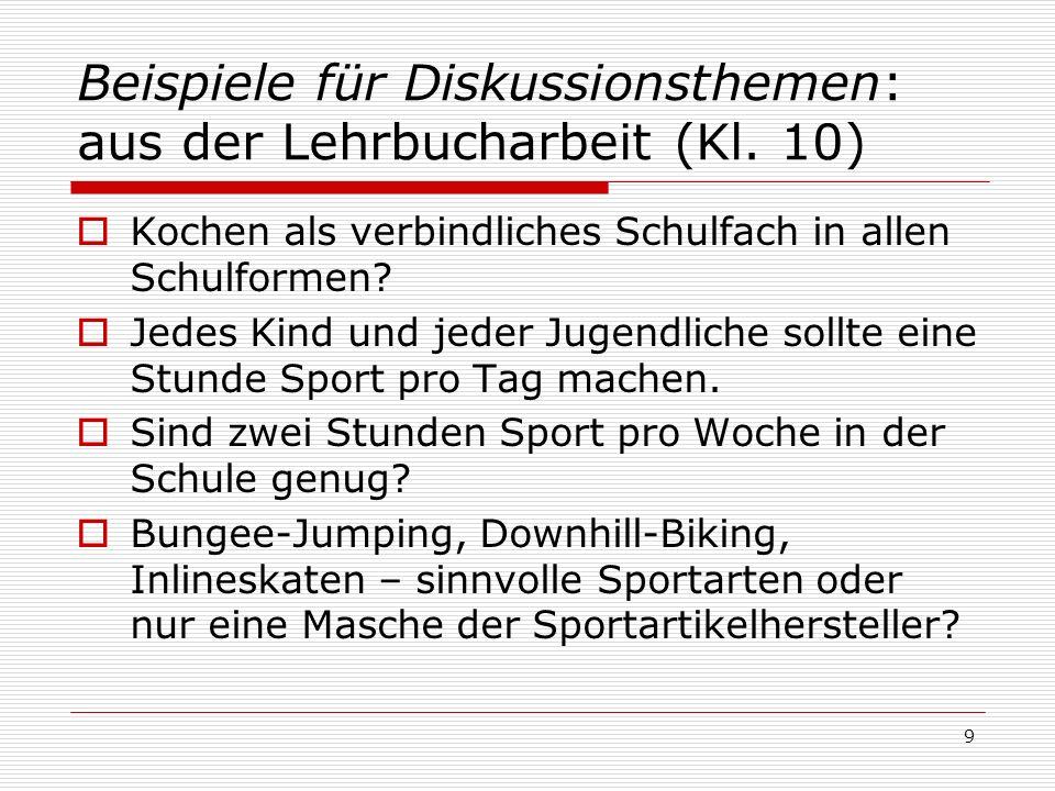 Beispiele für Diskussionsthemen: aus der Lehrbucharbeit (Kl.