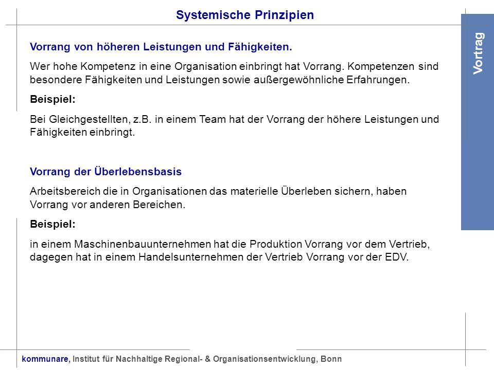 kommunare, Institut für Nachhaltige Regional- & Organisationsentwicklung, Bonn Vortrag Systemische Prinzipien Vorrang von höheren Leistungen und Fähig