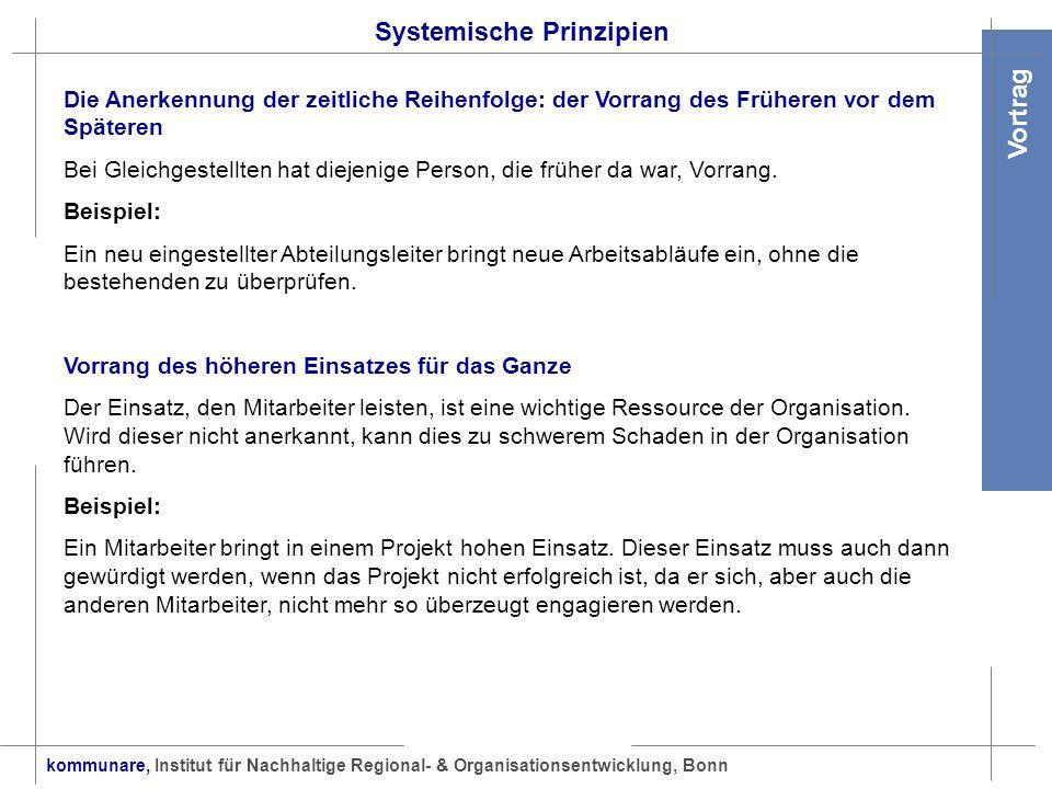 kommunare, Institut für Nachhaltige Regional- & Organisationsentwicklung, Bonn Vortrag Systemische Prinzipien Die Anerkennung der zeitliche Reihenfolg