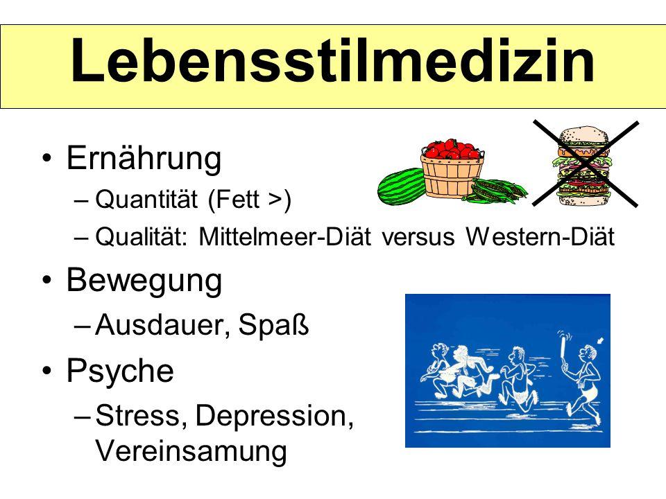 Lebensstilmedizin Ernährung –Quantität (Fett >) –Qualität: Mittelmeer-Diät versus Western-Diät Bewegung –Ausdauer, Spaß Psyche –Stress, Depression, Ve