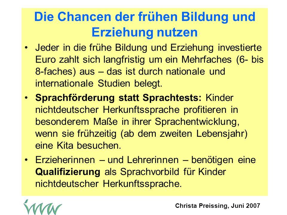 Christa Preissing, Juni 2007 Die Chancen der frühen Bildung und Erziehung nutzen Jeder in die frühe Bildung und Erziehung investierte Euro zahlt sich langfristig um ein Mehrfaches (6- bis 8-faches) aus – das ist durch nationale und internationale Studien belegt.