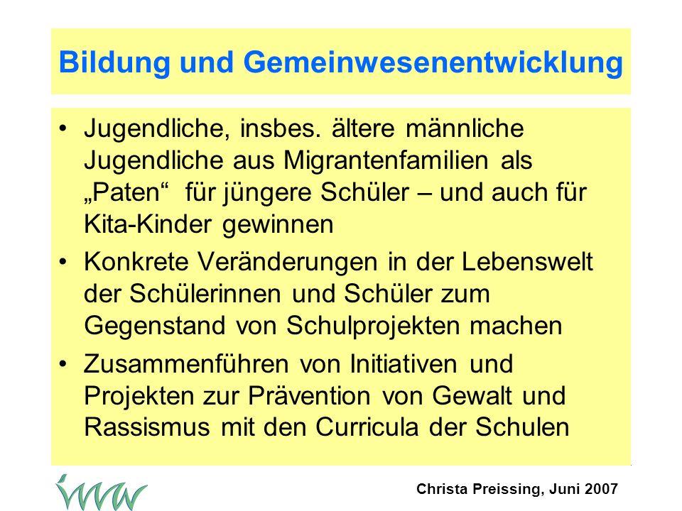 Christa Preissing, Juni 2007 Bildung und Gemeinwesenentwicklung Jugendliche, insbes.