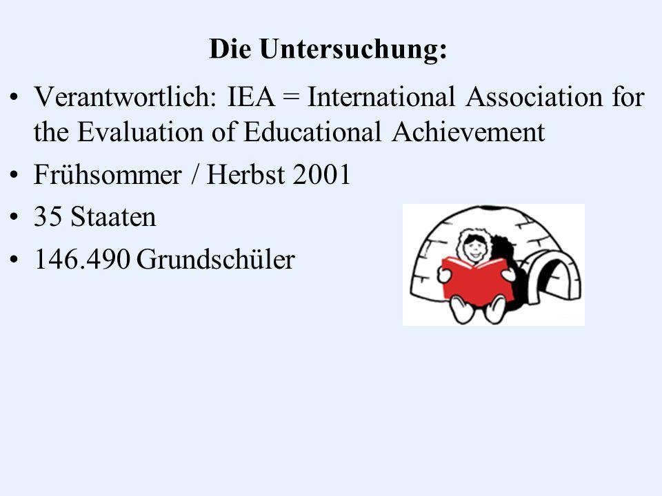 Die Untersuchung in Deutschland: IGLU: Lesetest: 211 Schulen 8.997 Schüler