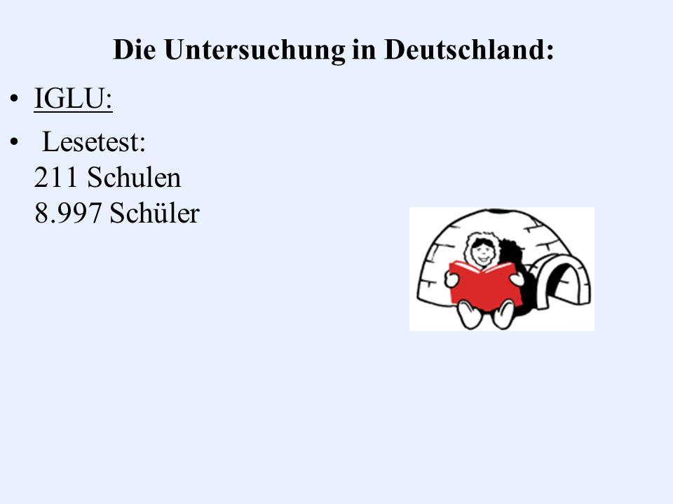 Die Untersuchung in Deutschland: IGLU: Lesetest: 211 Schulen 8.997 Schüler IGLU (E): Rechtschreiben, Aufsatz, Mathematik, Naturwissenschaften: 168 Schulen 5.943 Schüler