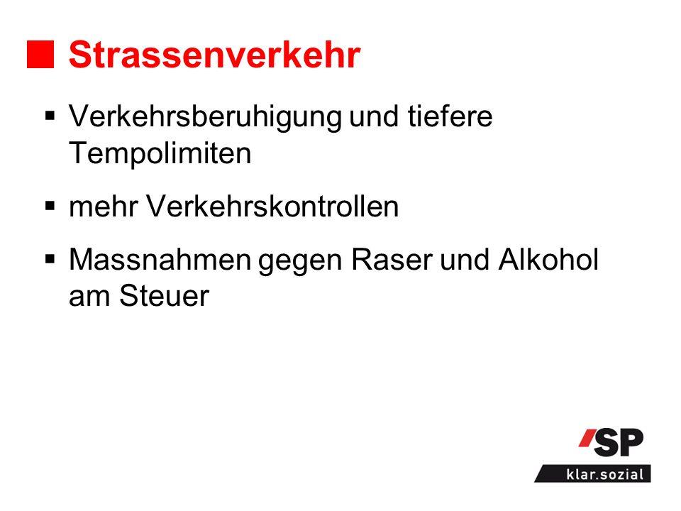 Strassenverkehr Verkehrsberuhigung und tiefere Tempolimiten mehr Verkehrskontrollen Massnahmen gegen Raser und Alkohol am Steuer