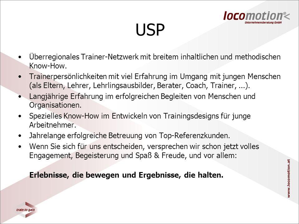 USP Überregionales Trainer-Netzwerk mit breitem inhaltlichen und methodischen Know-How.