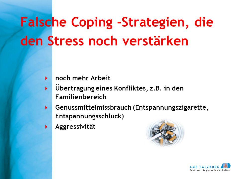 Falsche Coping -Strategien, die den Stress noch verstärken noch mehr Arbeit Übertragung eines Konfliktes, z.B. in den Familienbereich Genussmittelmiss