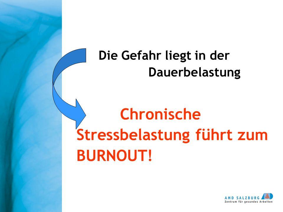 Die Gefahr liegt in der Dauerbelastung Chronische Stressbelastung führt zum BURNOUT!