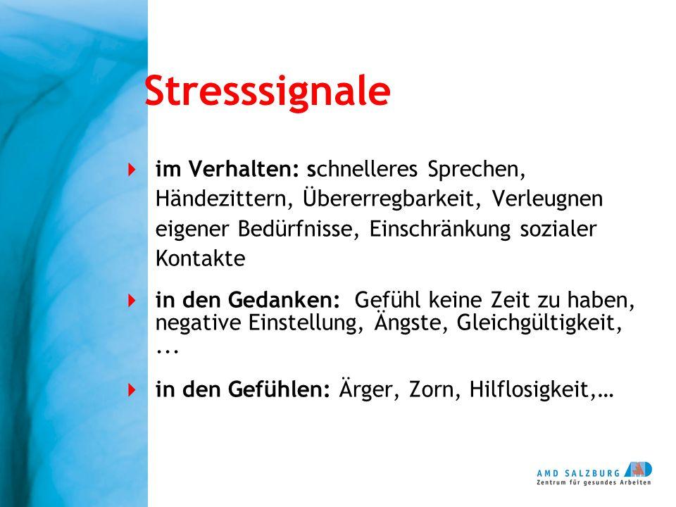 Stresssignale im Verhalten: schnelleres Sprechen, Händezittern, Übererregbarkeit, Verleugnen eigener Bedürfnisse, Einschränkung sozialer Kontakte in d