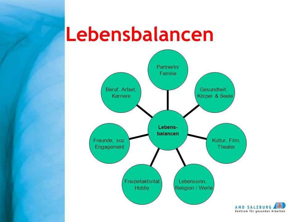 Lebensbalancen Lebens- balancen PartnerIn/ Familie Gesundheit, Körper & Seele Kultur, Film, Theater Lebenssinn, Religion / Werte Freizeitaktivität Hob
