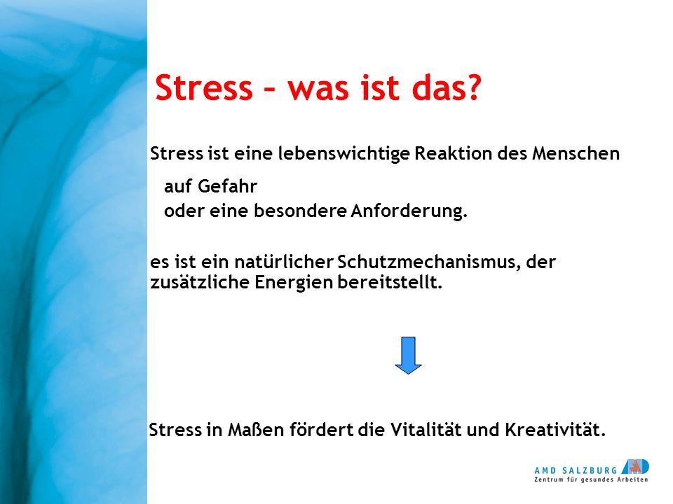 Stress – was ist das? Stress ist eine lebenswichtige Reaktion des Menschen auf Gefahr oder eine besondere Anforderung. es ist ein natürlicher Schutzme