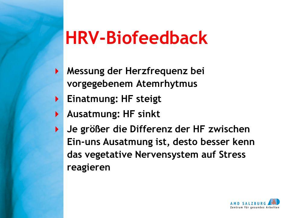 Messung der Herzfrequenz bei vorgegebenem Atemrhytmus Einatmung: HF steigt Ausatmung: HF sinkt Je größer die Differenz der HF zwischen Ein-uns Ausatmu