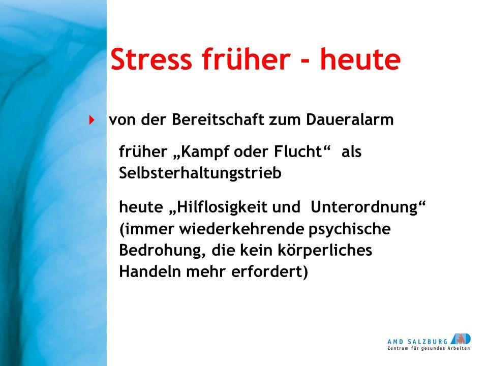 Stress früher - heute von der Bereitschaft zum Daueralarm früher Kampf oder Flucht als Selbsterhaltungstrieb heute Hilflosigkeit und Unterordnung (imm
