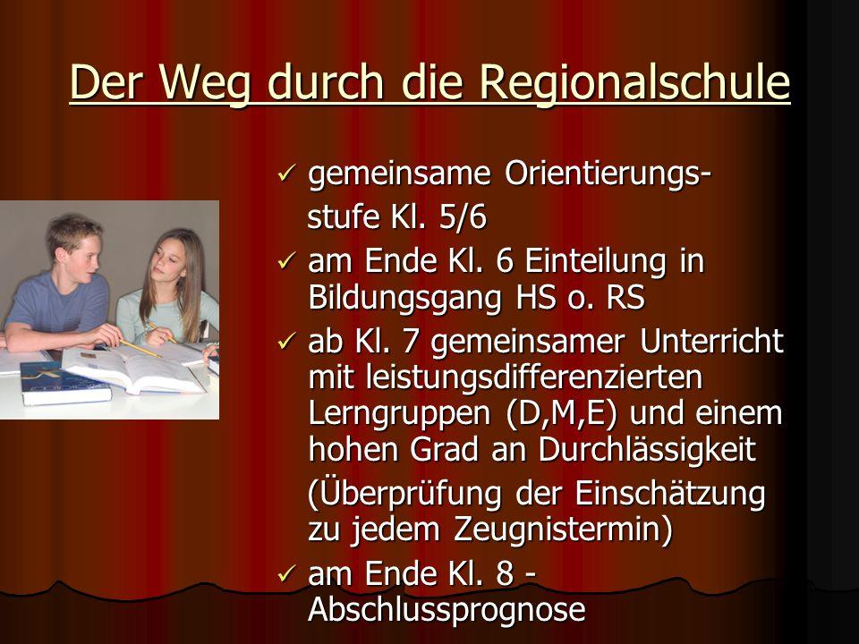 Der Weg durch die Regionalschule gemeinsame Orientierungs- gemeinsame Orientierungs- stufe Kl.