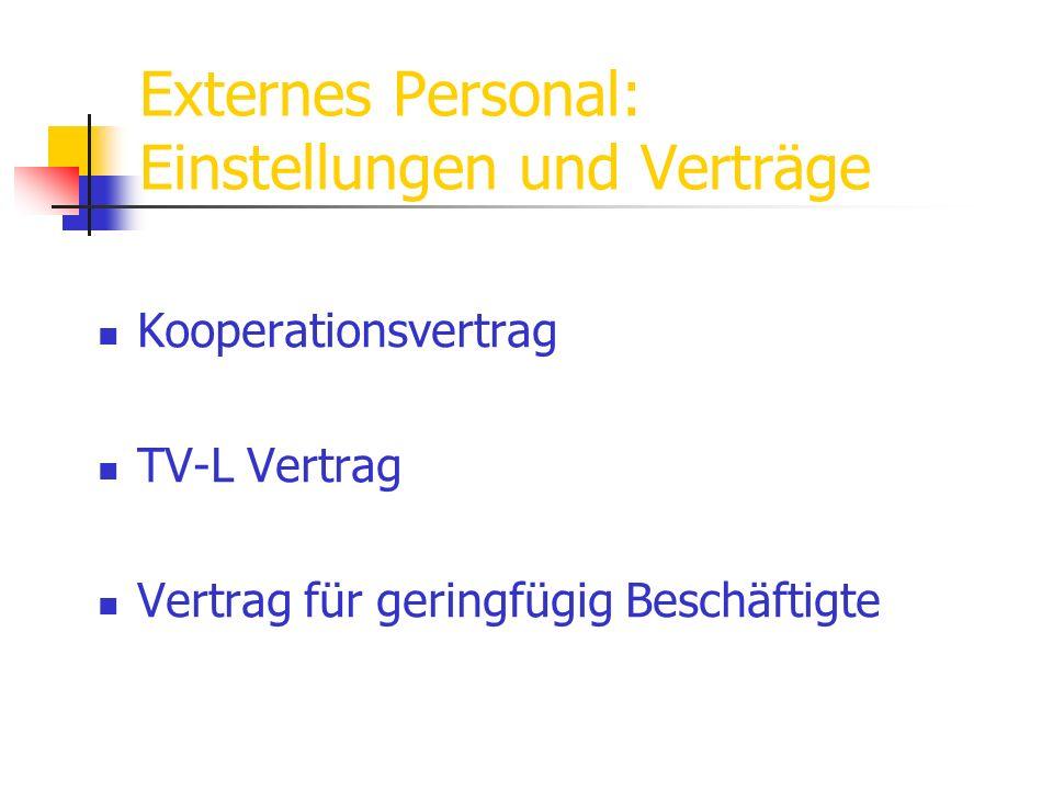 Externes Personal: Einstellungen und Verträge Kooperationsvertrag TV-L Vertrag Vertrag für geringfügig Beschäftigte