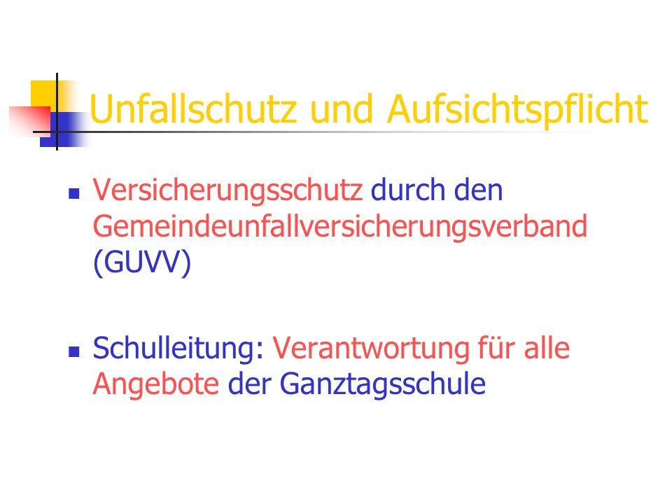 Unfallschutz und Aufsichtspflicht Versicherungsschutz durch den Gemeindeunfallversicherungsverband (GUVV) Schulleitung: Verantwortung für alle Angebot