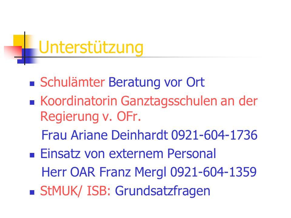 Unterstützung Schulämter Beratung vor Ort Koordinatorin Ganztagsschulen an der Regierung v. OFr. Frau Ariane Deinhardt 0921-604-1736 Einsatz von exter
