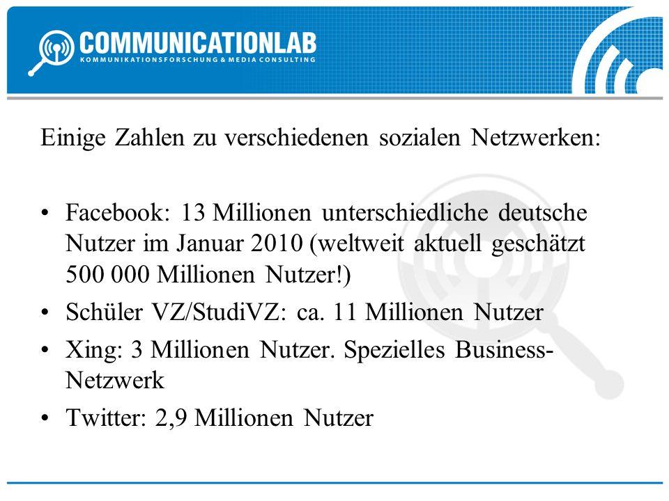 Einige Zahlen zu verschiedenen sozialen Netzwerken: Facebook: 13 Millionen unterschiedliche deutsche Nutzer im Januar 2010 (weltweit aktuell geschätzt