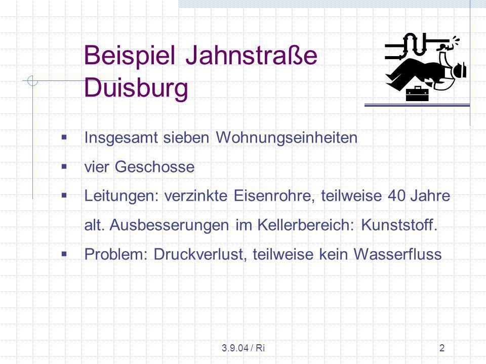 3.9.04 / Ri2 Beispiel Jahnstraße Duisburg Insgesamt sieben Wohnungseinheiten vier Geschosse Leitungen: verzinkte Eisenrohre, teilweise 40 Jahre alt.
