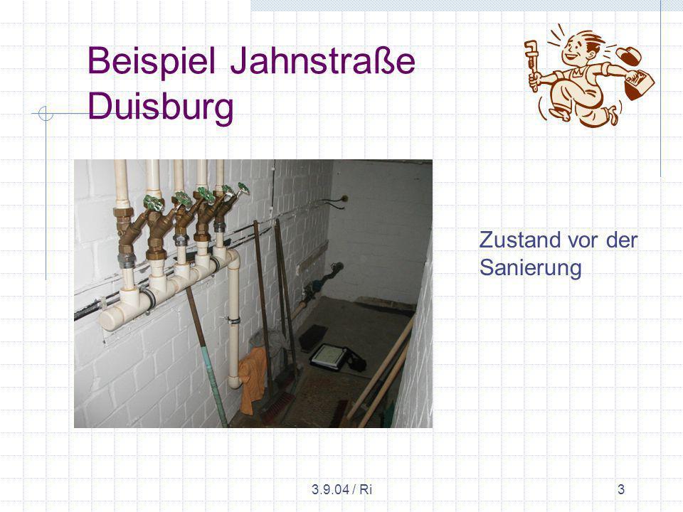 3.9.04 / Ri4 Beispiel Jahnstraße Duisburg Hochdruck-Luft-Wasser- Spülung mit Spezialgerät.
