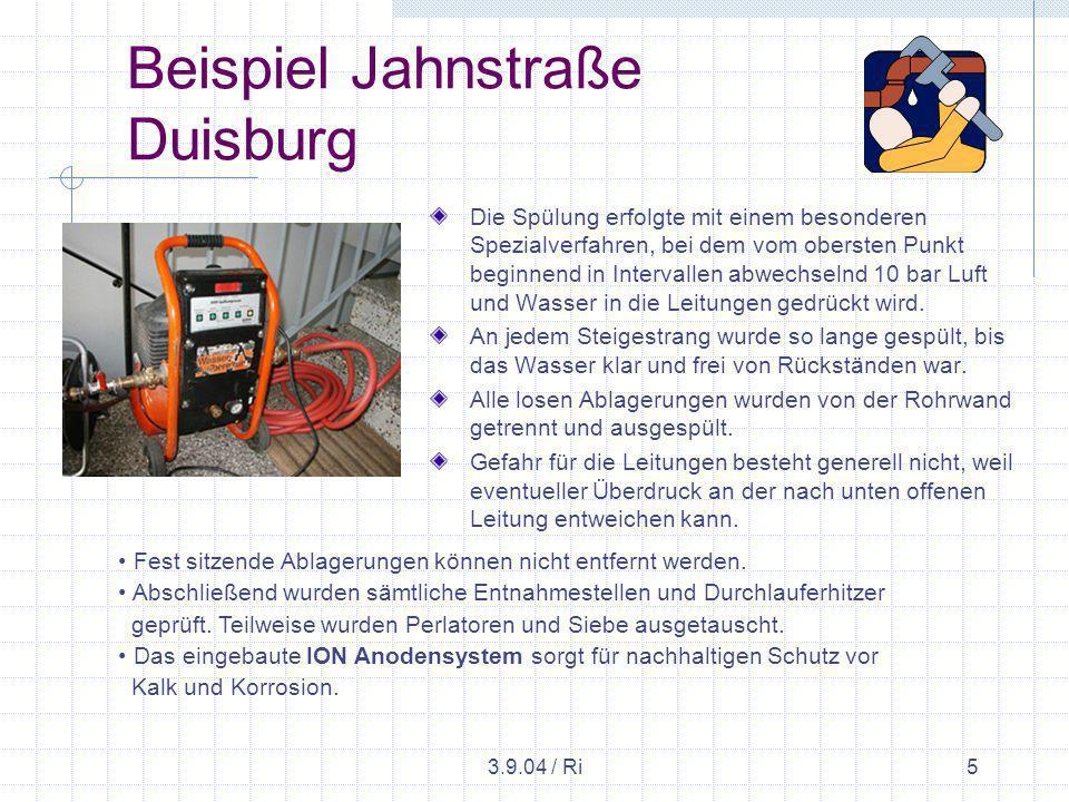 3.9.04 / Ri6 Beispiel Jahnstraße Duisburg Verschlammte, in Jahrzehnten angesammelte Ablagerungen, Verkrustungen, Kalk- u.