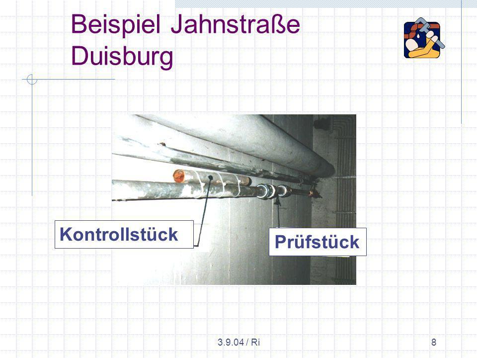 3.9.04 / Ri9 Beispiel Jahnstraße Duisburg An markanten Stellen werden vor und nach der Spülung Messungen über die Durchflussleistung durchgeführt.