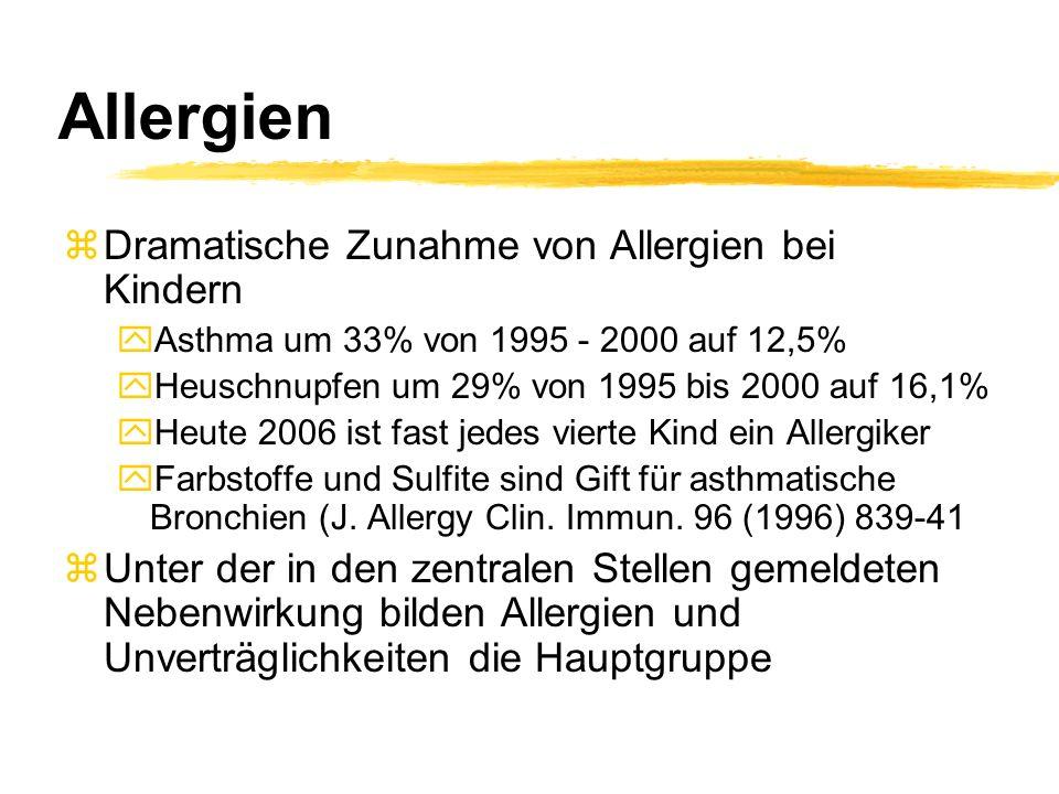 Allergien zDramatische Zunahme von Allergien bei Kindern yAsthma um 33% von 1995 - 2000 auf 12,5% yHeuschnupfen um 29% von 1995 bis 2000 auf 16,1% yHe