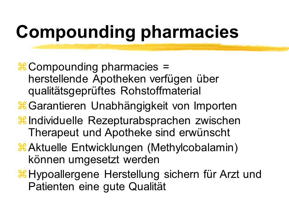 Compounding pharmacies zCompounding pharmacies = herstellende Apotheken verfügen über qualitätsgeprüftes Rohstoffmaterial zGarantieren Unabhängigkeit